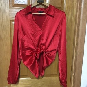 90's red satin button up shirt